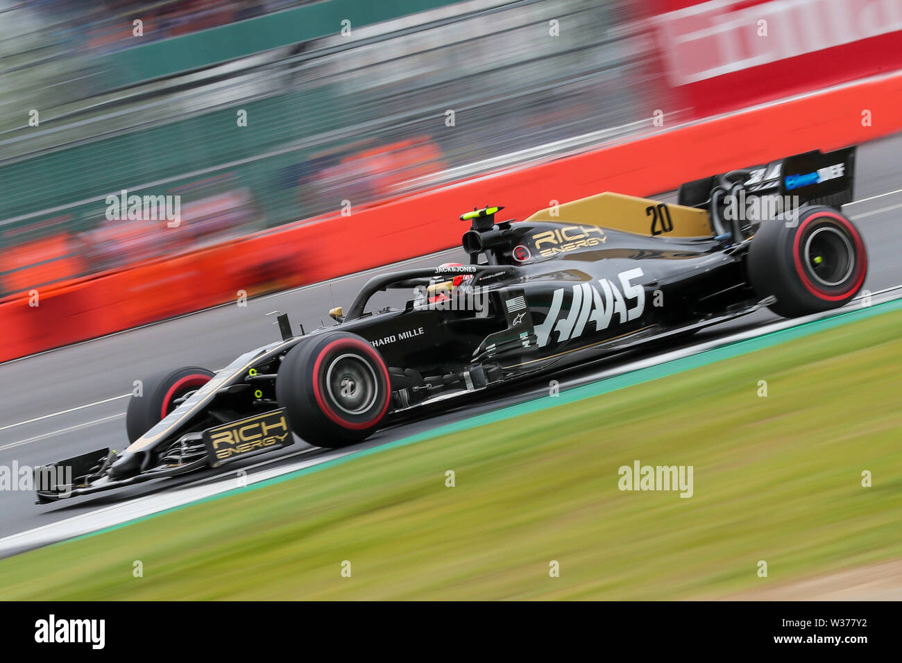 Silverstone Circuit. Northampton, UK. 13th July, 2019. FIA Formula 1 Grand Prix of Britain, Qualification Day; Kevin Magnussen driving his Rich Energy Haas F1 Team VF-19 Credit: Action Plus Sports/Alamy Live News Stock Photo