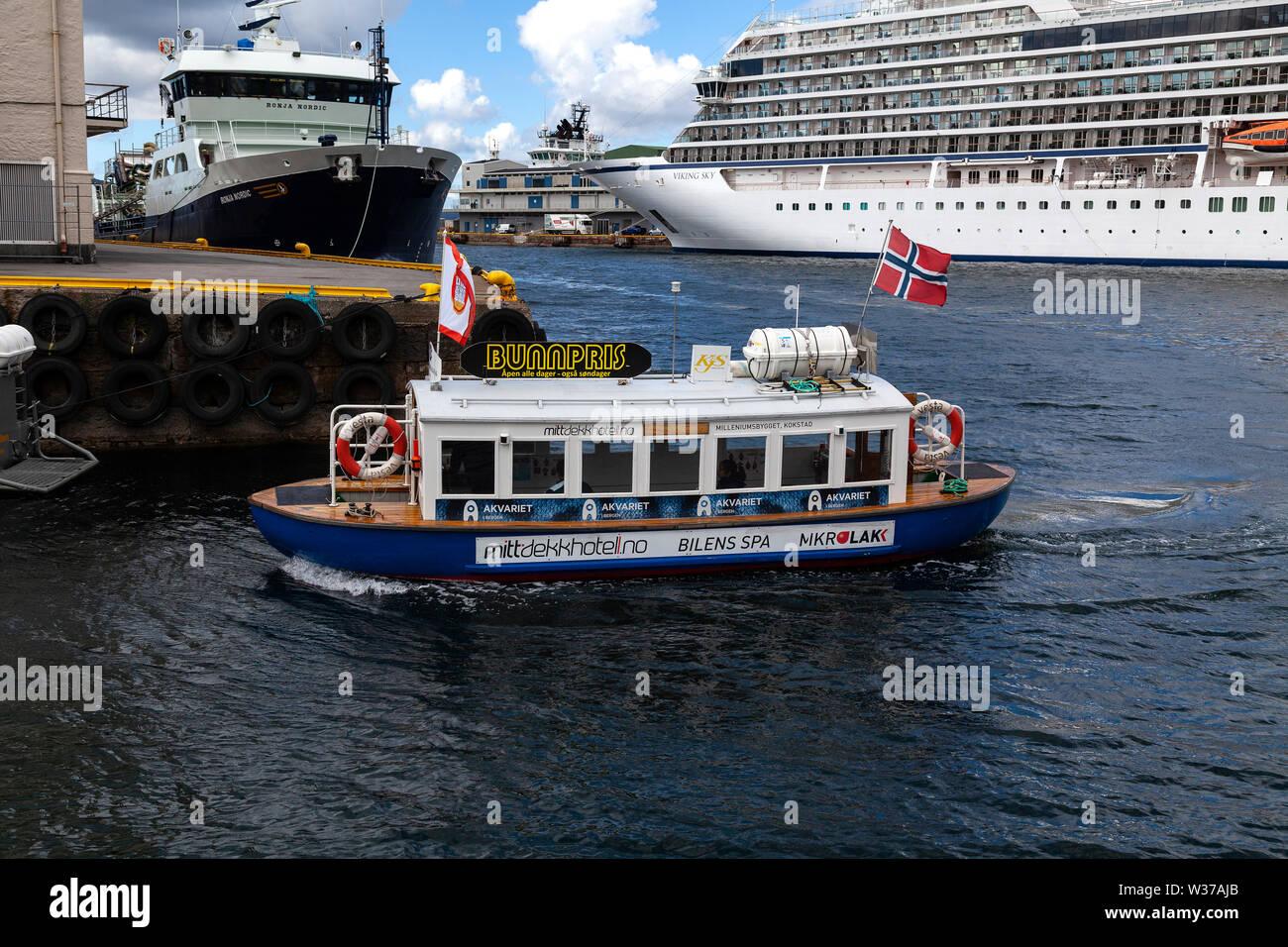 Small Harbor Ferry Vaagen Vagen In The Port Of Bergen Norway