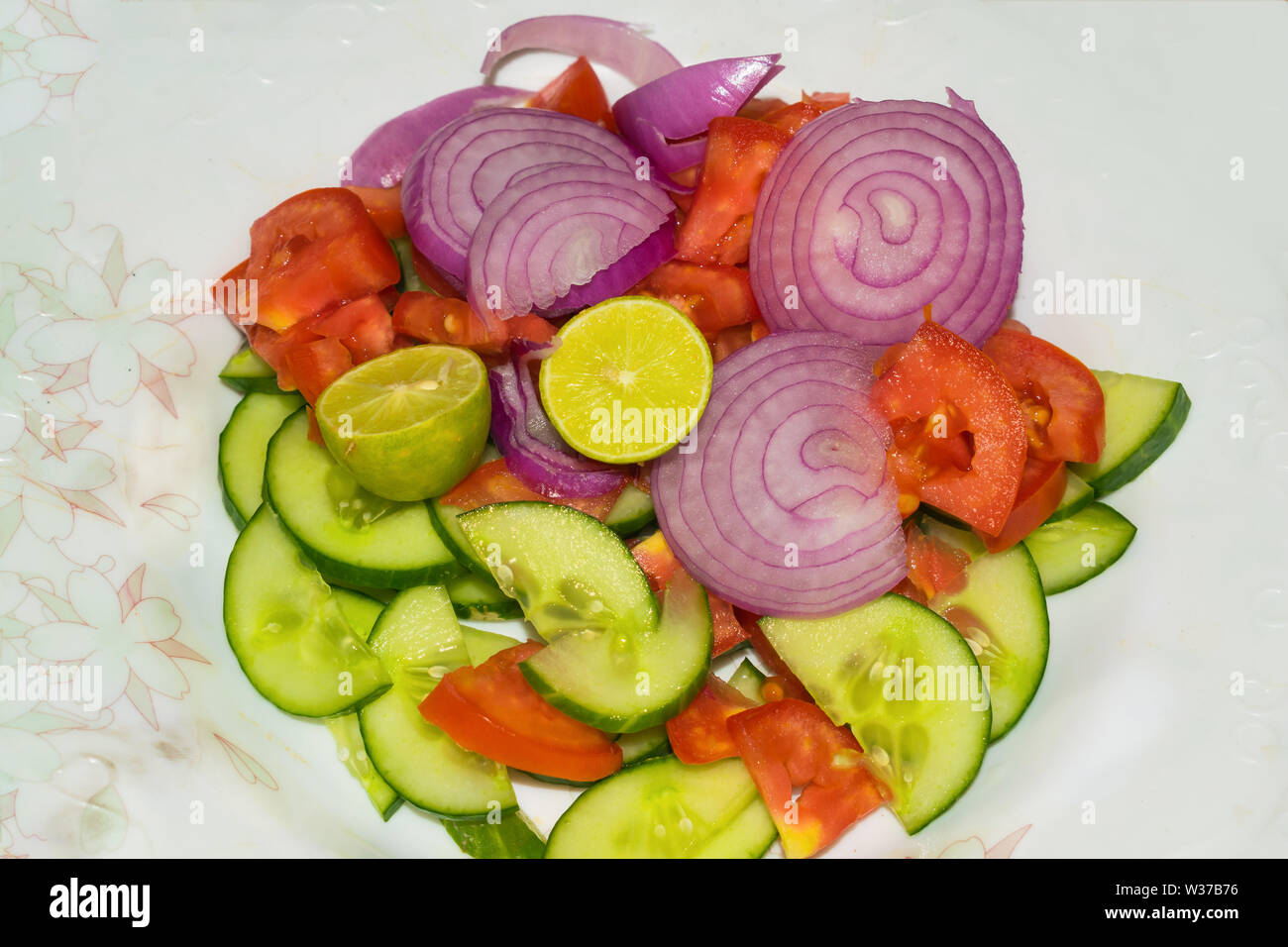close  up of vegetable salad mixed vegetables isolated on a white background. Stock Photo