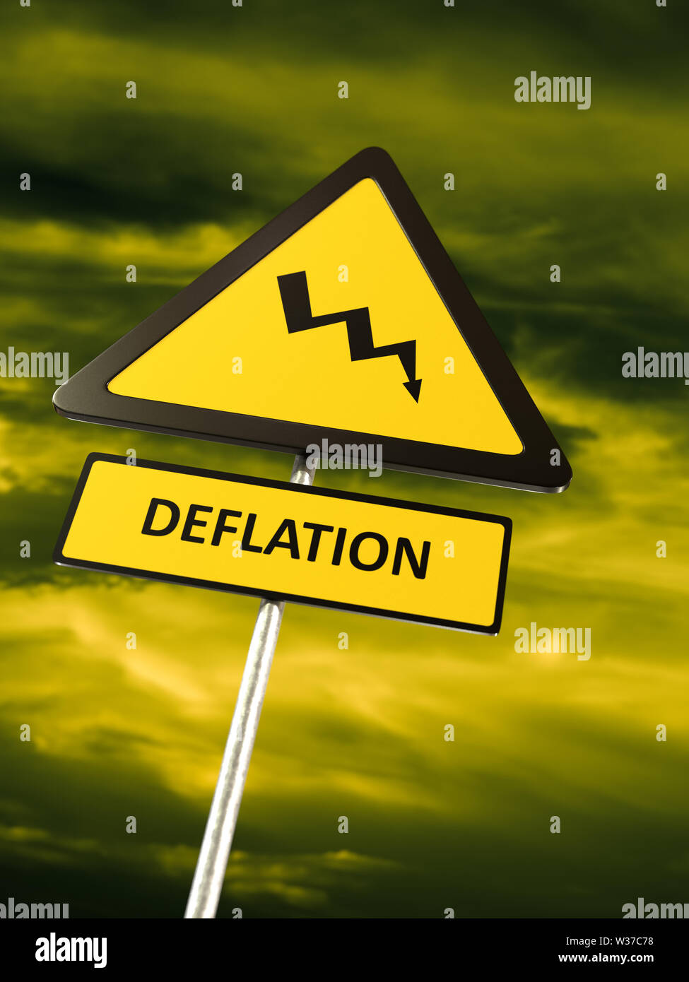 Deflation warning sign against dramatic sky - Stock Image