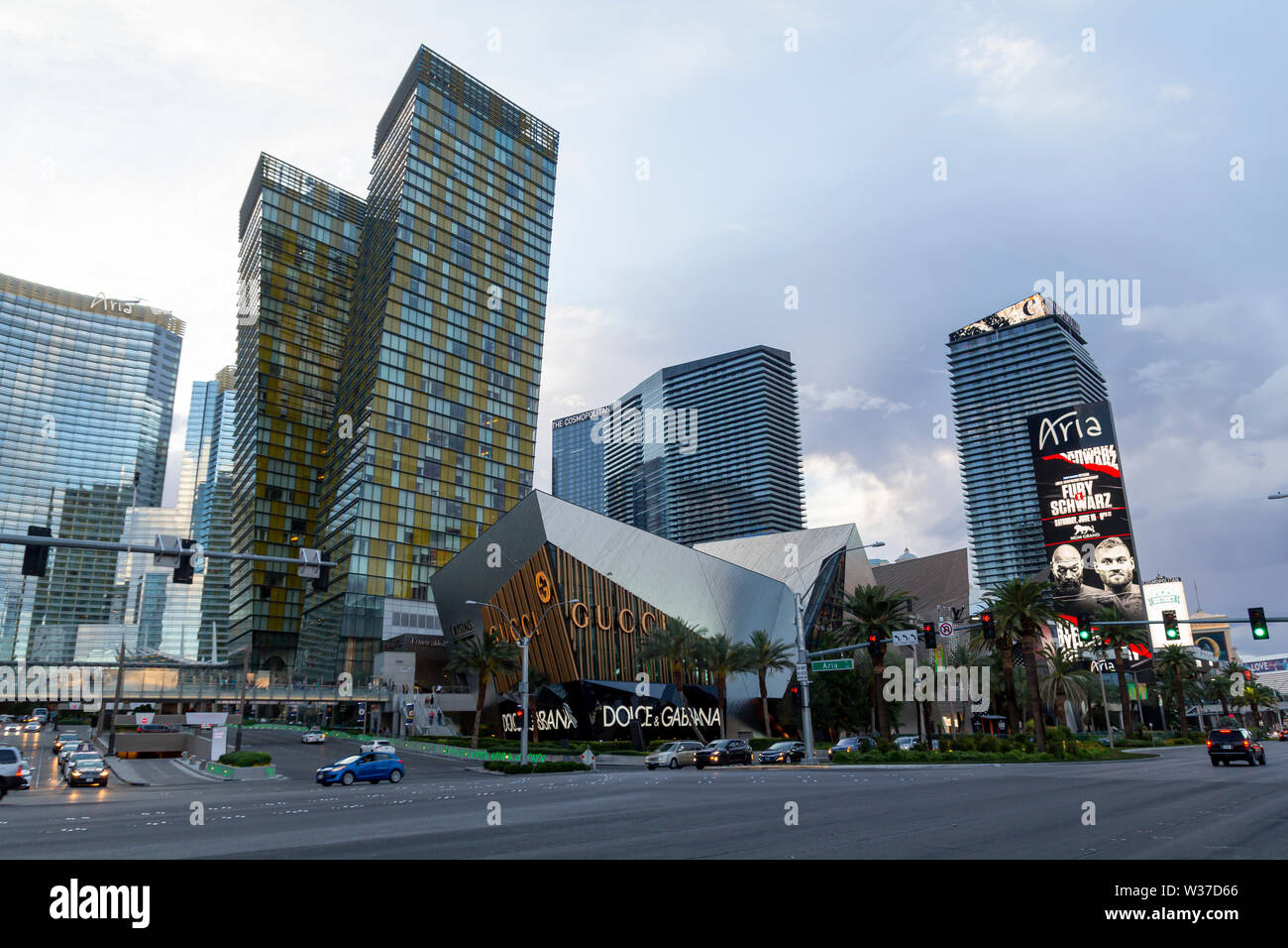 Las Vegas Strip, casino and hotels city view with modern architecture and luxury stores - Stock Image