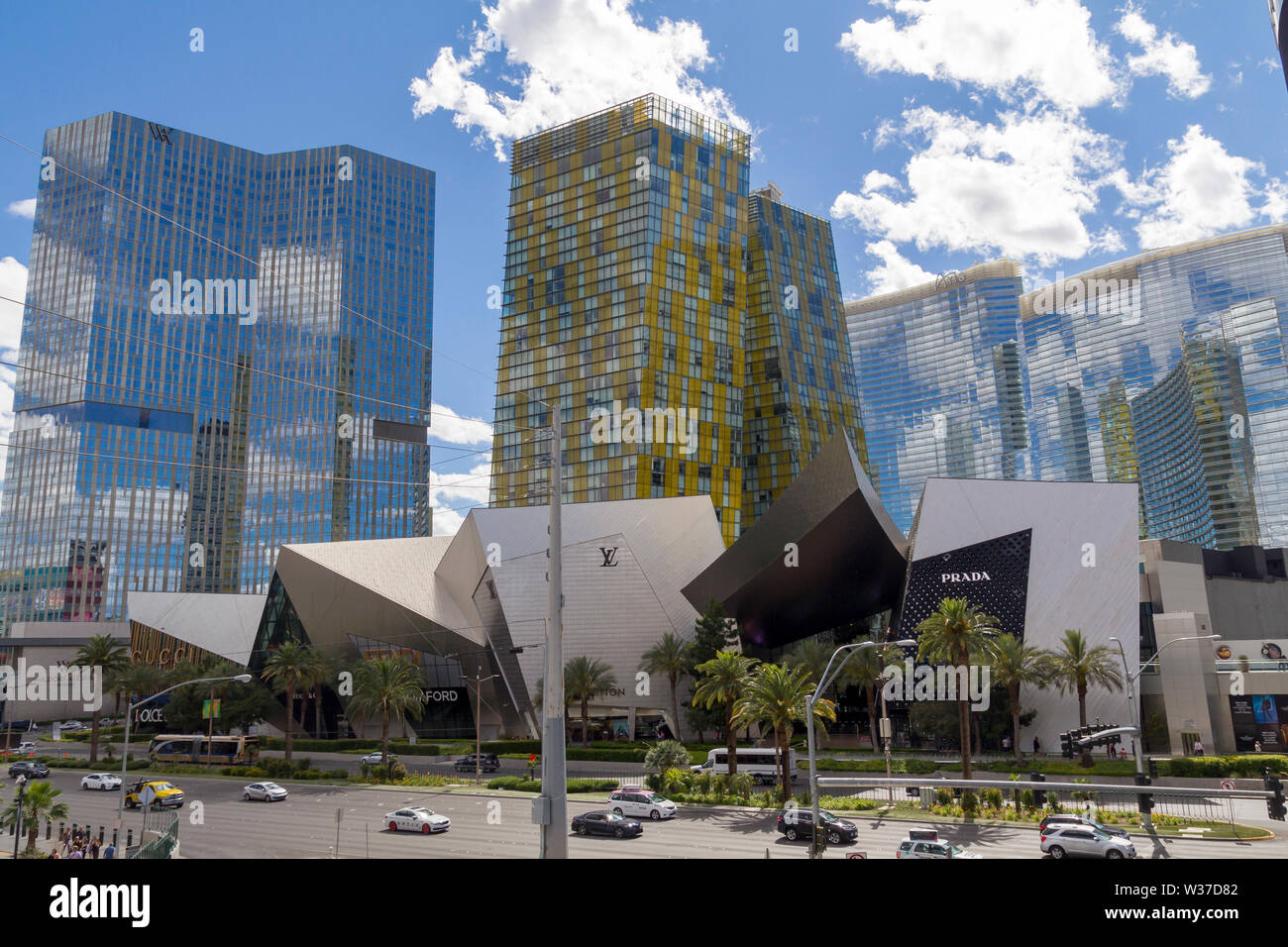 Las Vegas, Nevada, United States: May 21, 2019: Las Vegas Strip, casino and hotels city view with modern architecture and luxury stores - Stock Image