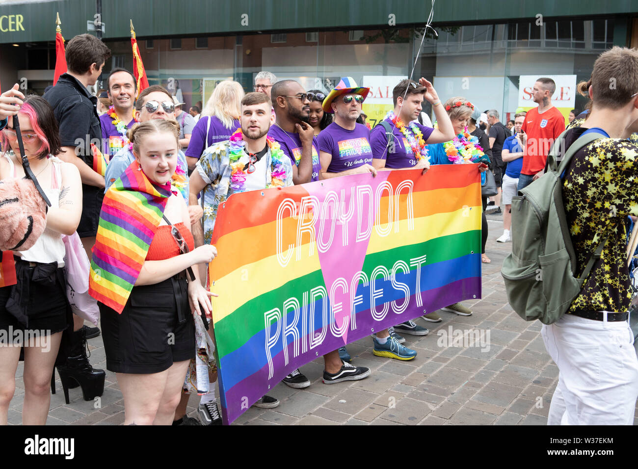 Croydon PrideFest 2019 - London's second largest and free Pride festival was back for its fourth year on Saturday 13 July - Stock Image