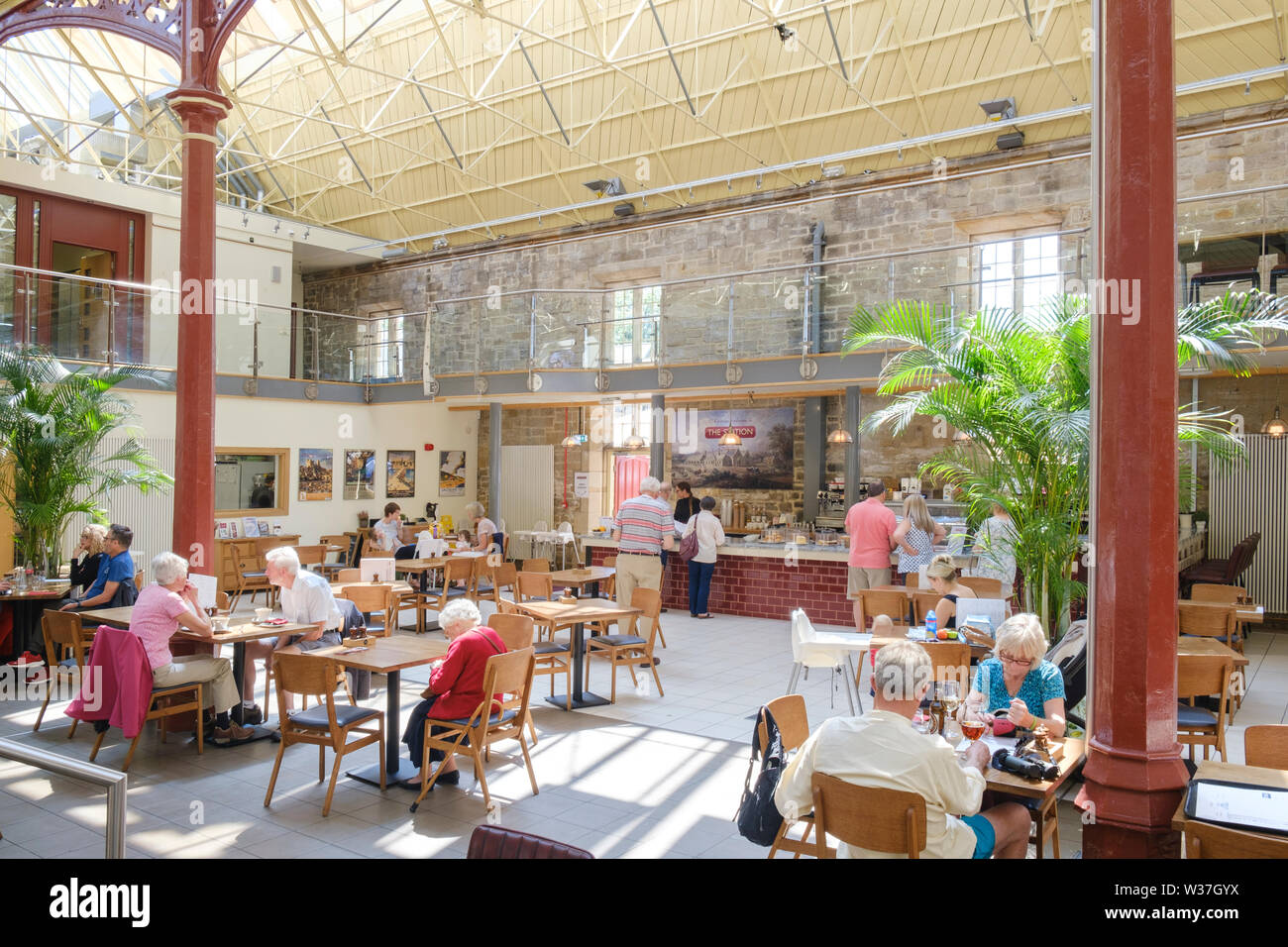 Interior of  the Station Richmond North Yorkshire a Victorian railway building now an art gallery and exhibition space, café  bar and cinema, - Stock Image