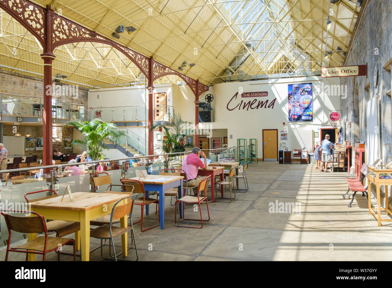Interior of  the Station Richmond North Yorkshire a Victorian railway building now an art gallery and exhibition space, café  bar and cinema, Stock Photo