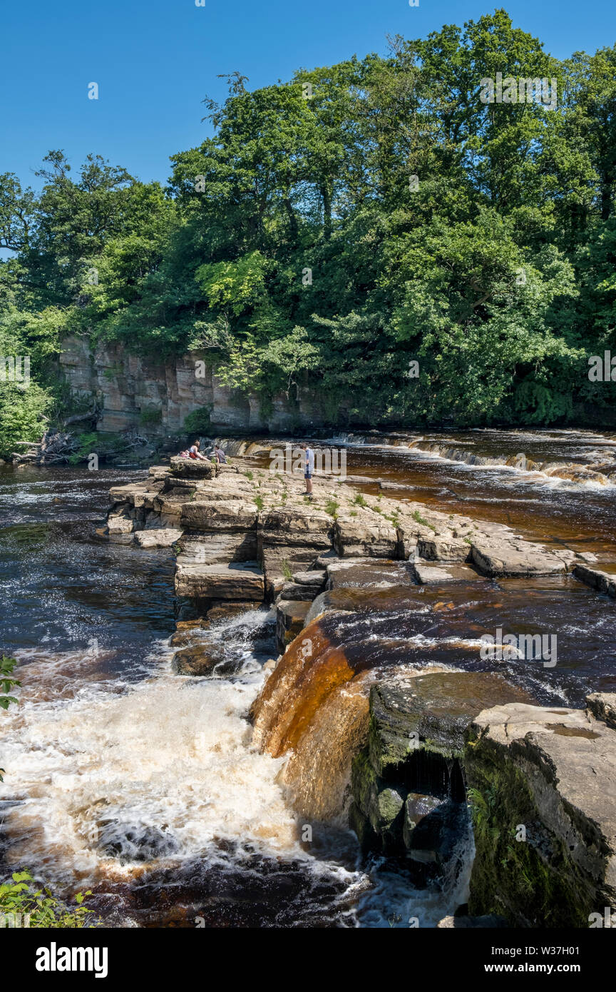 River Swale waterfalls in Richmond North Yorkshire Stock Photo