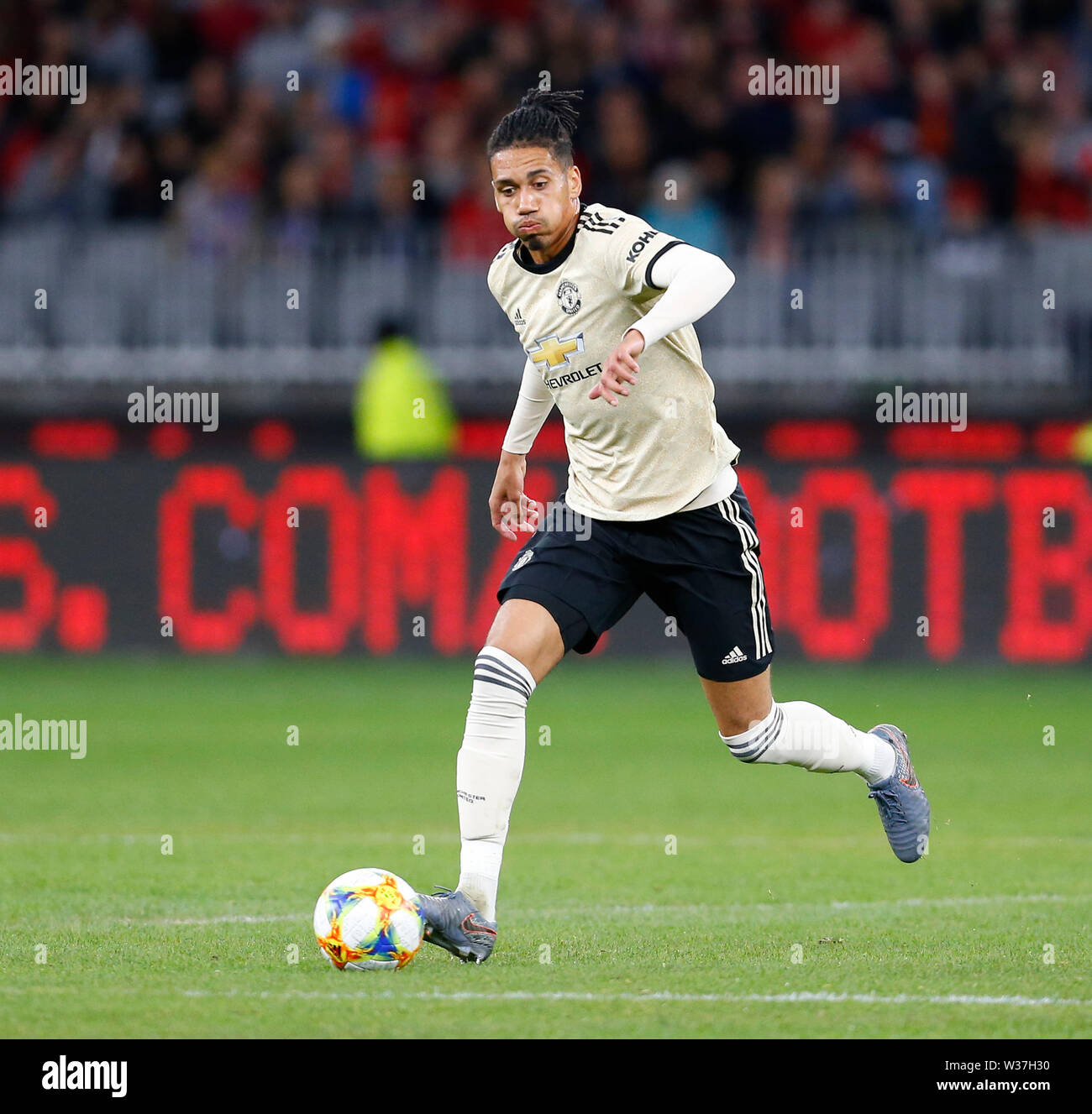 Optus Stadium, Perth, Western Australia. 13th July, 201913th July 2019, Optus Stadium, Perth, Western Australia; Pre-season friendly football, Perth Glory versus Manchester United; Chris Smalling of Manchester United runs with the ball Credit: Action Plus Sports Images/Alamy Live News Stock Photo