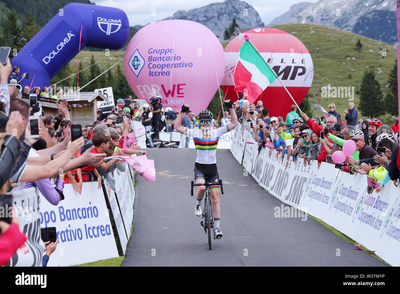 Chiusaforte, Italy. 13th July, 2019.Chiusaforte/Malga Montasio - 13-07-2019, cycling, Stage 9, etappe 9 Gemona - Chiusaforte/Malga Montasio, giro rosa, Anna van der Breggen wins the 9th stage of the Giro Rosa Credit: Pro Shots/Alamy Live News - Stock Image