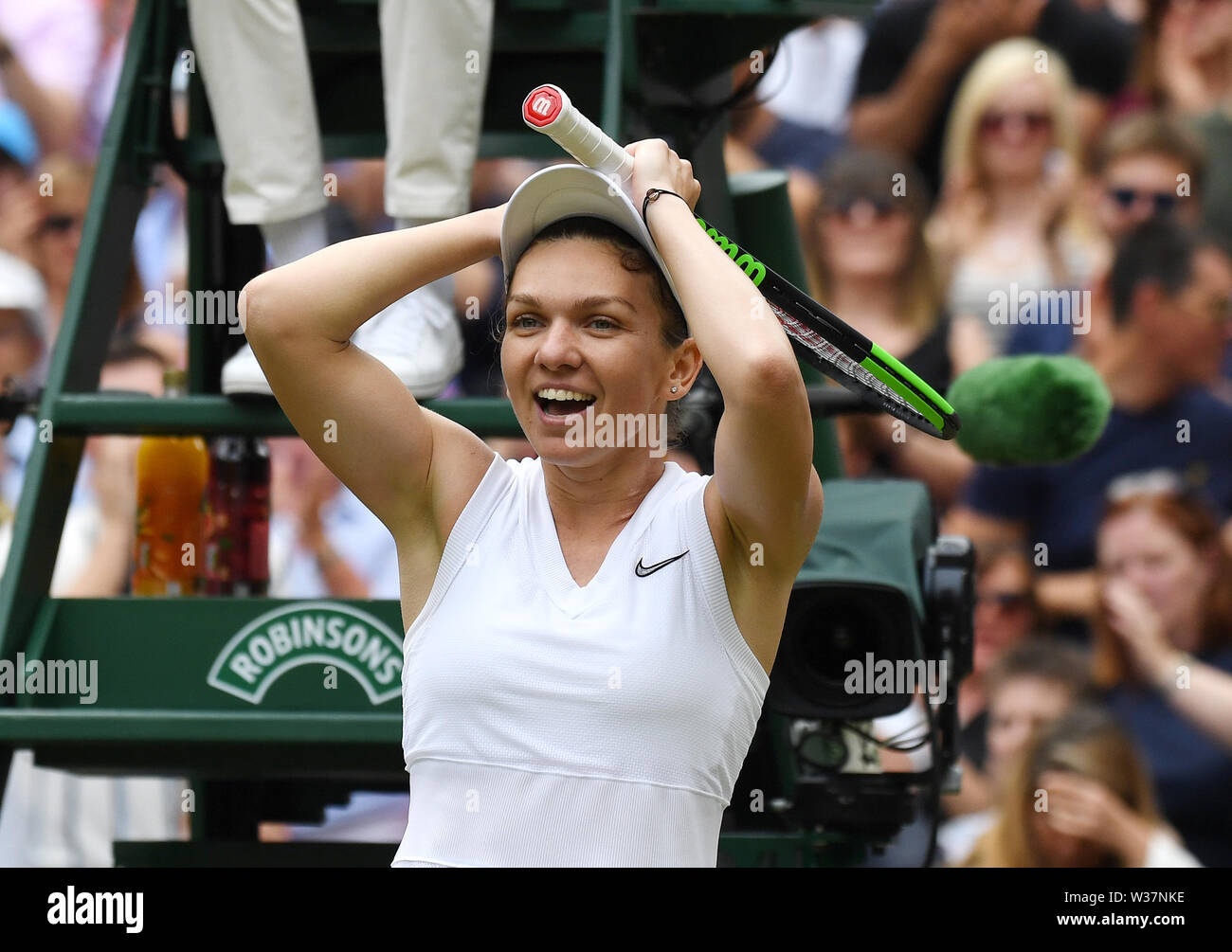 London, UK. 13th July, 2019. The Championships Wimbledon 2019 13072019 Simona Halep celebrates as she wins Ladies Singles Final Credit: Roger Parker/Alamy Live News - Stock Image