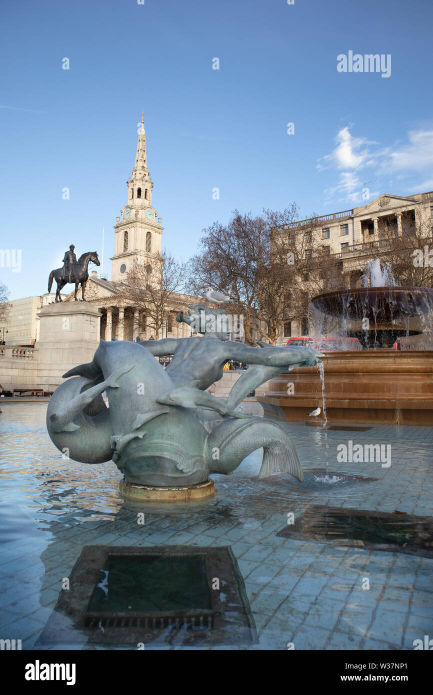 Dating back to 1830 Trafalgar Square commemorates the Battle of Trafalgar, a British naval victory in the Napoleonic Wars with France and Spain that t - Stock Image