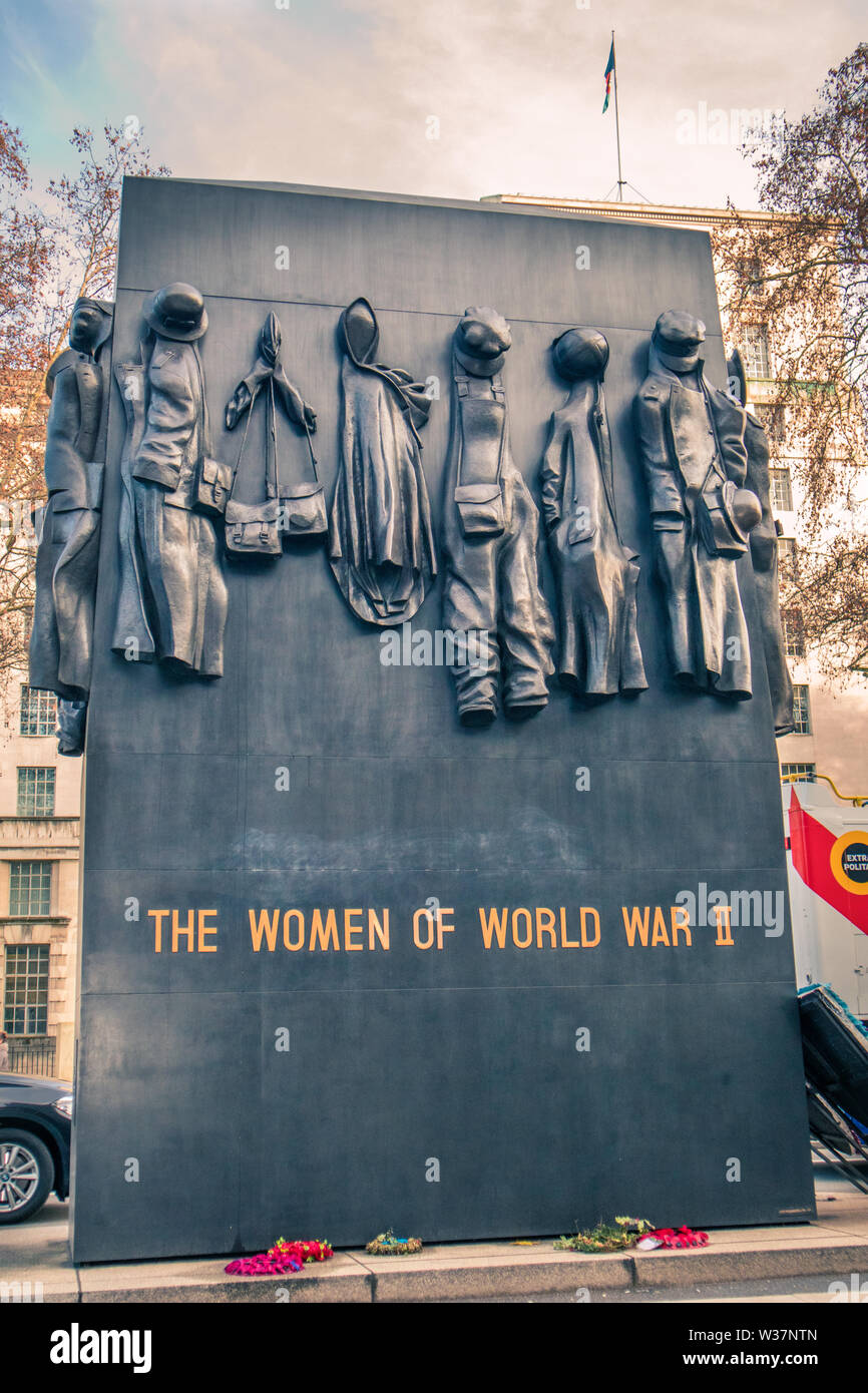 Monument to the Women of World War II, British national war memorial located on Whitehall London, north of the Cenotaph. It commemorates vital work do - Stock Image