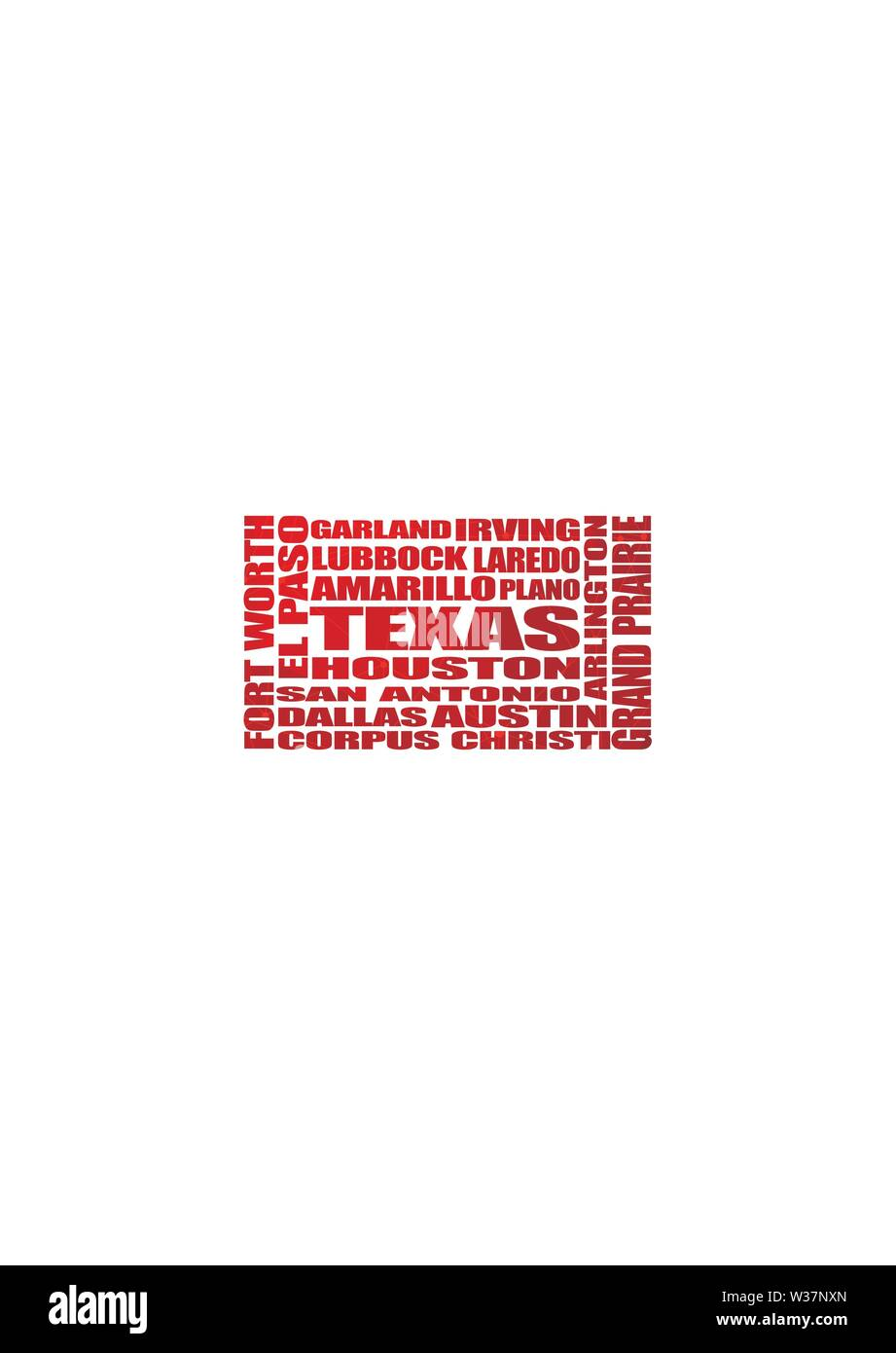 Texas state cities list - Stock Image
