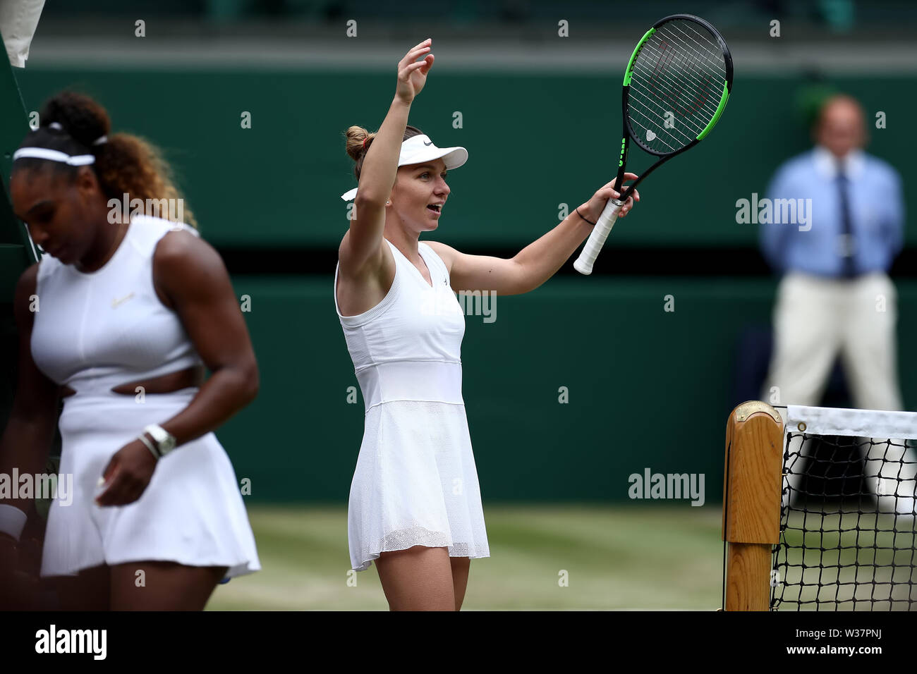 London, UK. 13th July, 2019.London, UK. 13th July, 2019. The All England Lawn Tennis and Croquet Club, Wimbledon, England, Wimbledon Tennis Tournament, Day 12; Simona Halep (ROM) celebrates as she wins the ladies singles final against Serena Williams (USA) Credit: Action Plus Sports Images/Alamy Live News Credit: Action Plus Sports Images/Alamy Live News - Stock Image