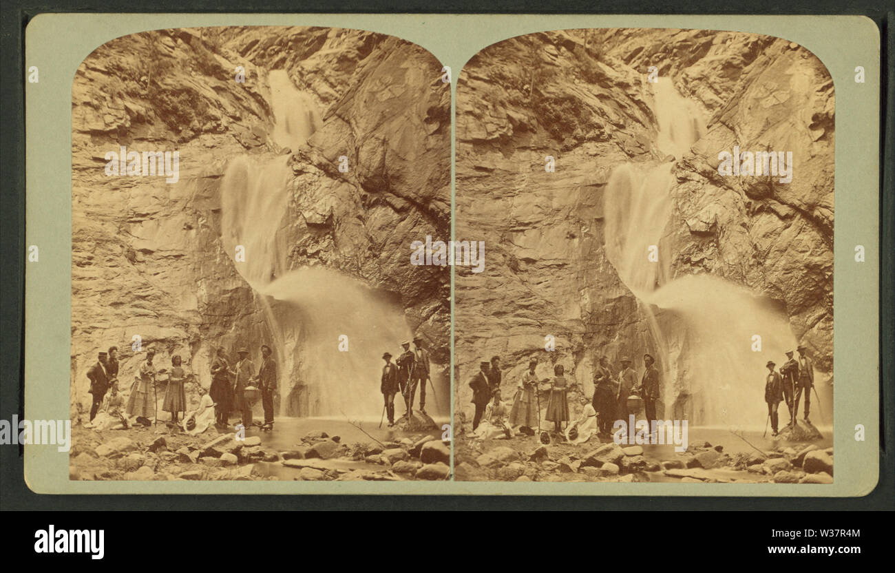 The three falls, Cheyenne Canyon, 150 feet high, from the bed of the canyon, by Gurnsey, B H (Byron H), 1833-1880 - Stock Image