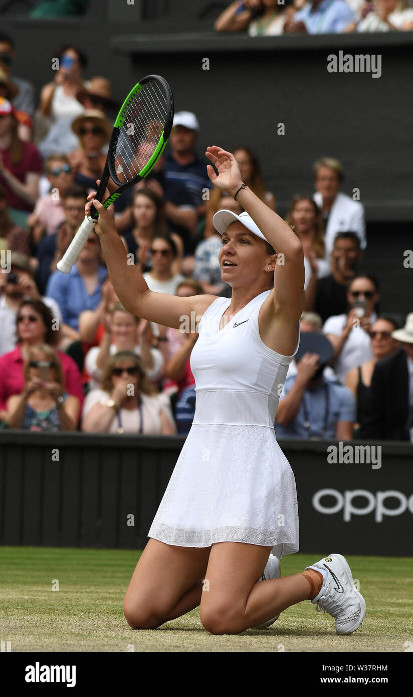 London, UK. 13th July, 2019. The Championships Wimbledon 2019 13072019 Simona Halep( ROU) wins Ladies Final Photo Roger Parker International Sports Fotos Ltd/Alamy Live News - Stock Image