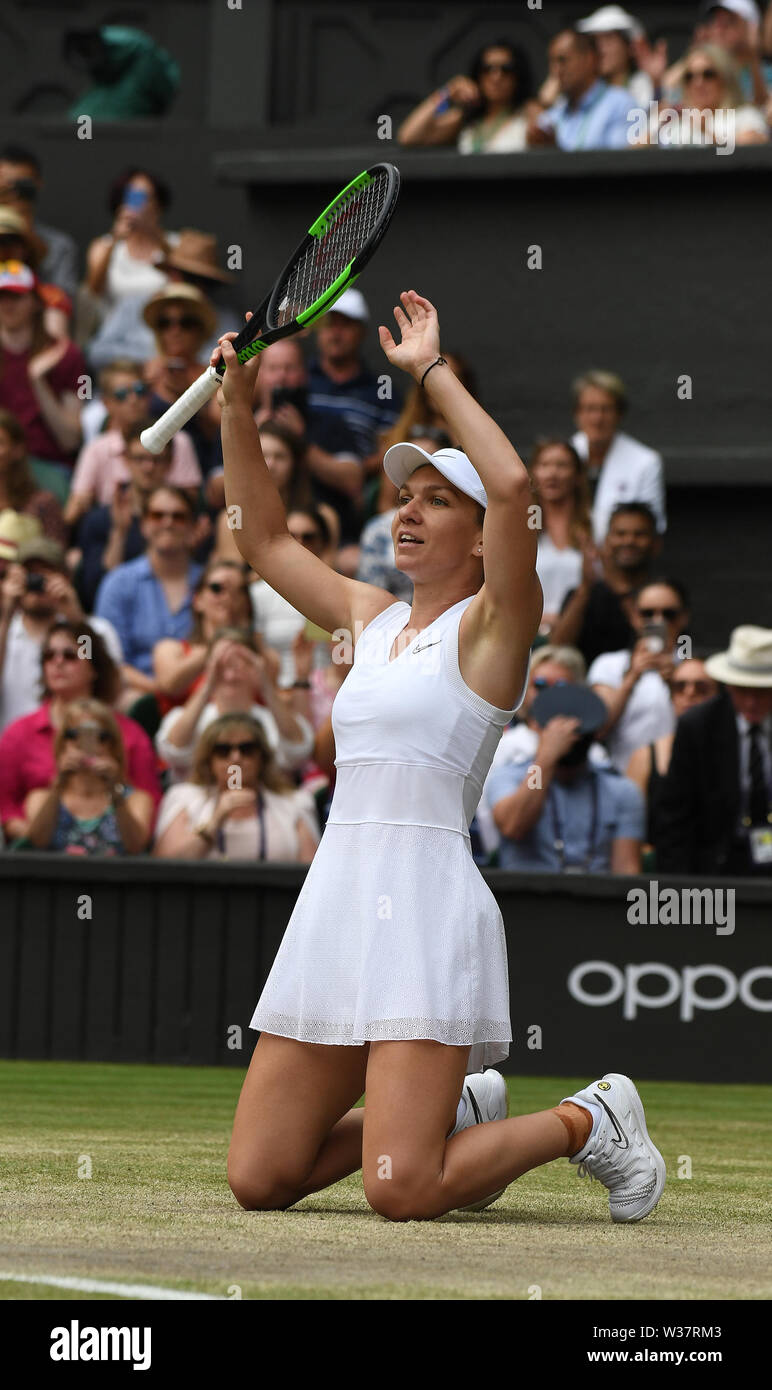 London, UK. 13th July, 2019. The Championships Wimbledon 2019 13072019 Simona Halep( ROU)wins Ladies Final Photo Roger Parker International Sports Fotos Ltd/Alamy Live News - Stock Image