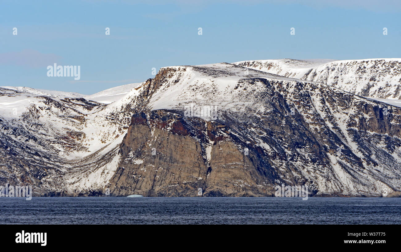 Barren Cliffs in the High Arctic on Baniff Island in Nunavut Canada - Stock Image