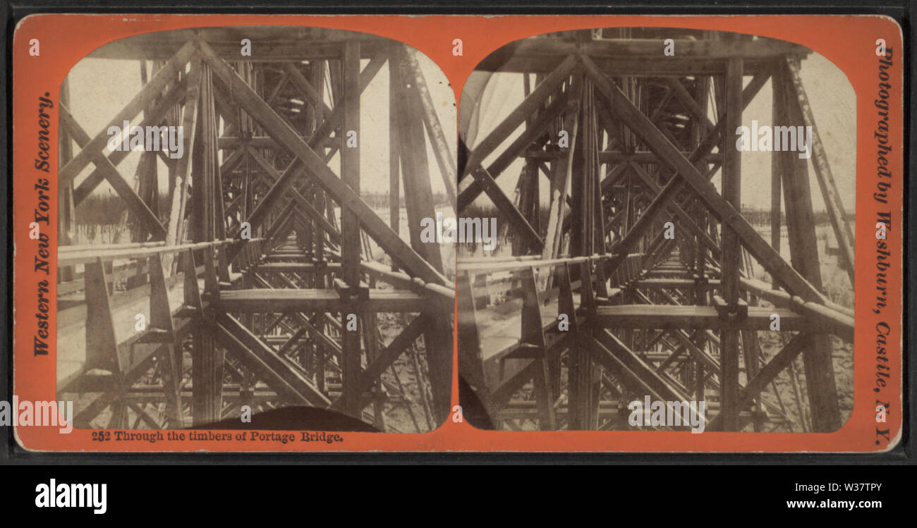 Through the timbers of Portage Bridge, by George L Washburn - Stock Image