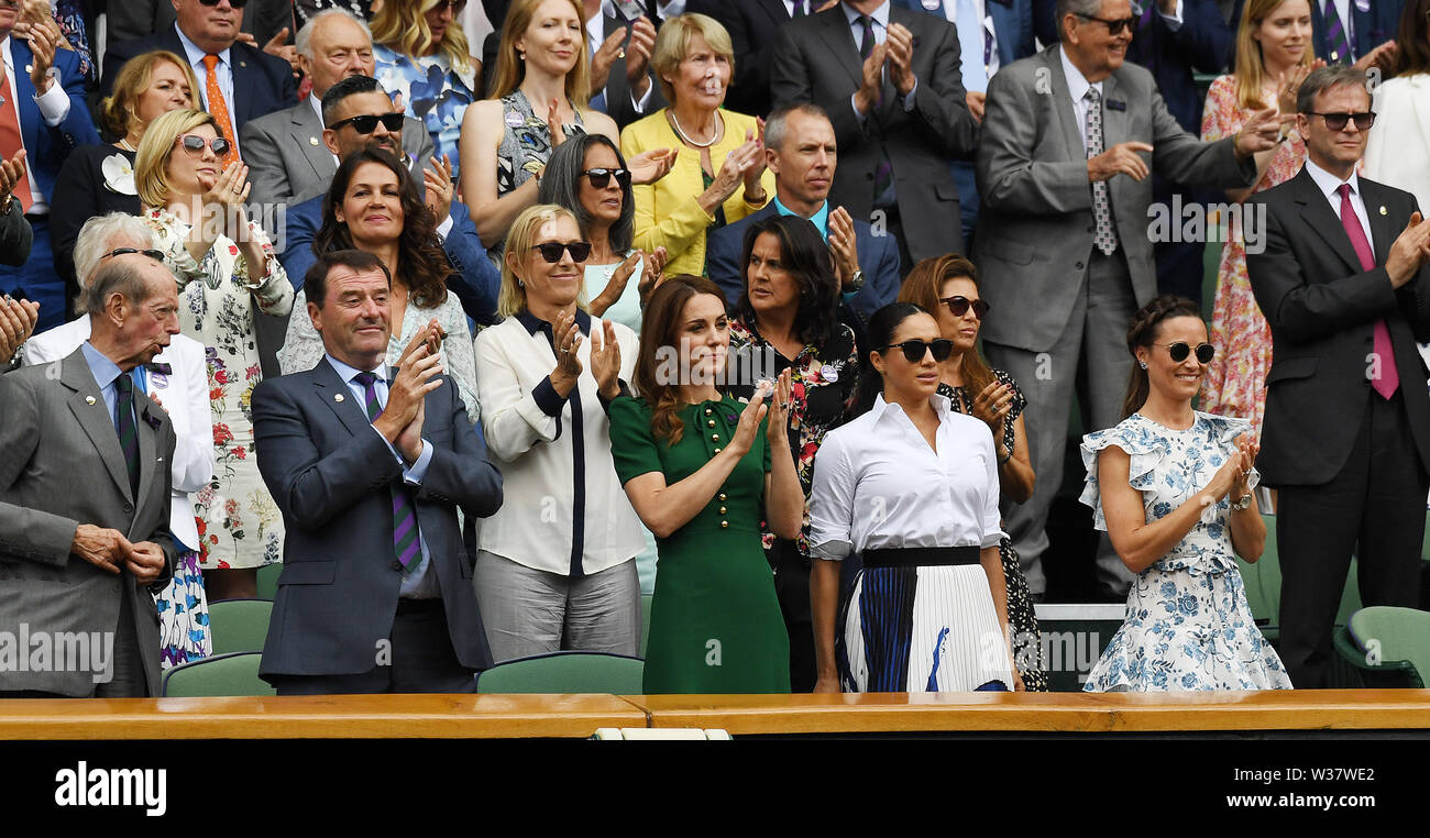 London, UK. 13th July, 2019. The Championships Wimbledon 2019 13072019 The Duke of Kent, Katherine Duchess of Cambridge and Meghan Countess of Sussex and Pippa Matthews, Mr Philip Brook Nartina Navratiloa applaud from the Royal Box after Simona Halep wins Ladies Singles Final Credit: Roger Parker/Alamy Live News - Stock Image
