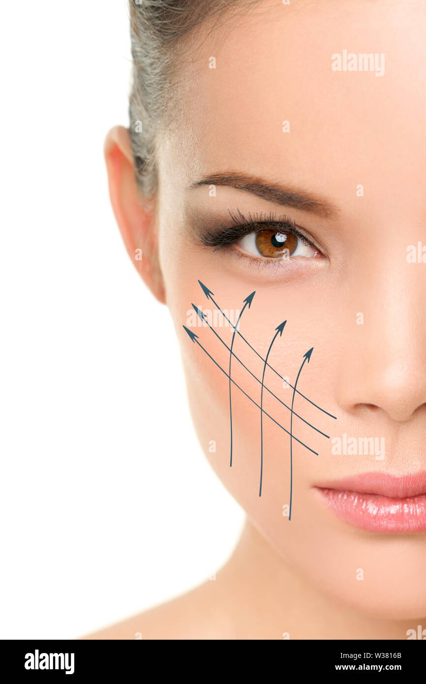 Face lift anti-aging treatment - Asian woman portrait with graphic lines showing facial lifting effect on perfect skin. Skincare cosmetic concept. - Stock Image