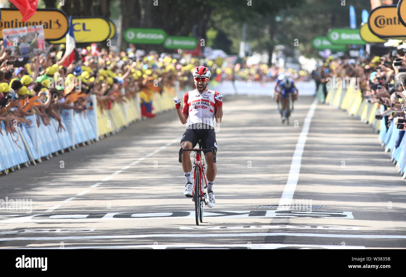 Macon to Saint-Etienne, France. 13th July 2019. Macon to Saint-Etienne, France. Macon to Saint-Etienne, France. 13th July 2019, Macon to Saint-Etienne, France; Tour de France cycling tour, stage 8; Thomas De Gendt, (BEL) Lotto Soudal crosses the finish line to win the stage Credit: Action Plus Sports Images/Alamy Live News Credit: Action Plus Sports Images/Alamy Live News Credit: Action Plus Sports Images/Alamy Live News Stock Photo