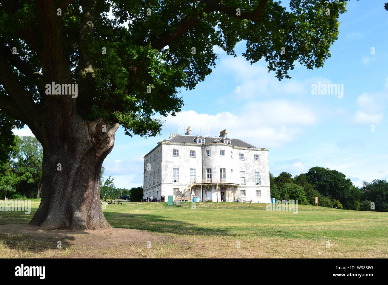 The reopened Beckenham Place Park with newly created 283m lake and beach, ancient woodlands, grasslands and mansion with bar, cafe and community rooms - Stock Image