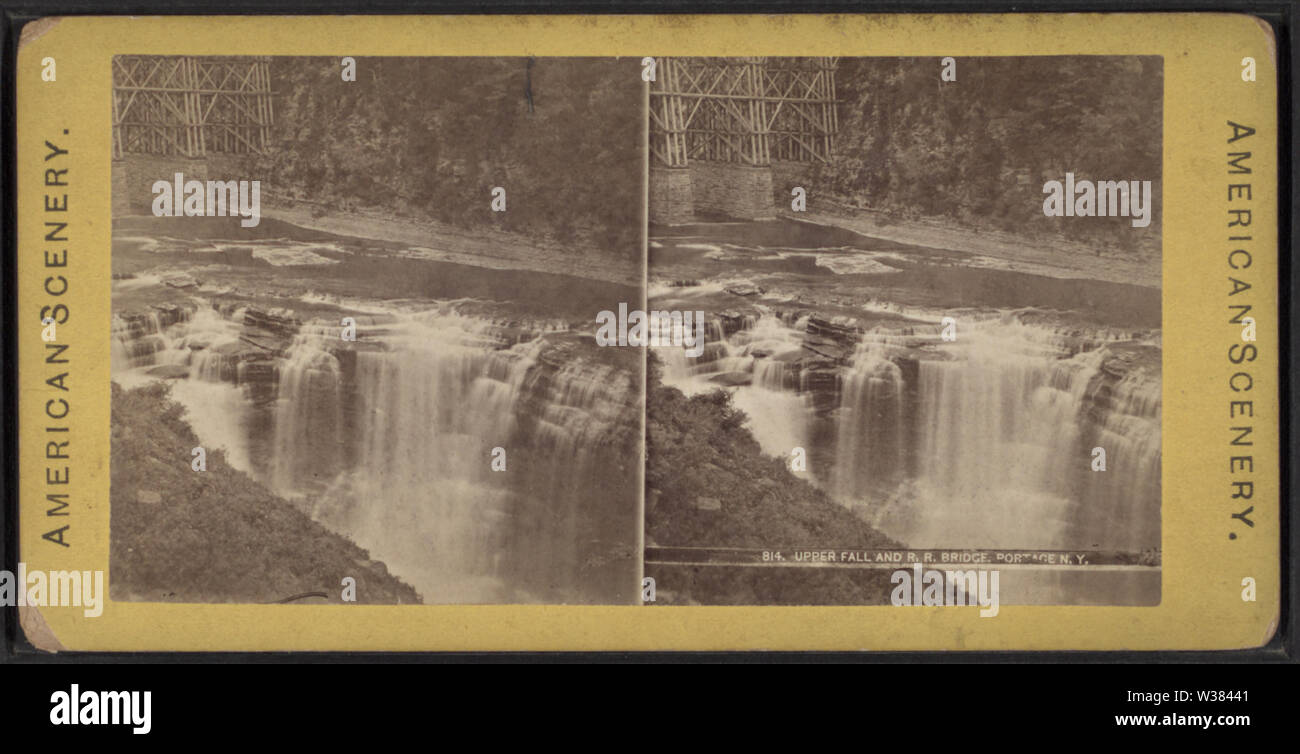 Upper Fall and RR Bridge, Portage, NY, from Robert N Dennis collection of stereoscopic views - Stock Image