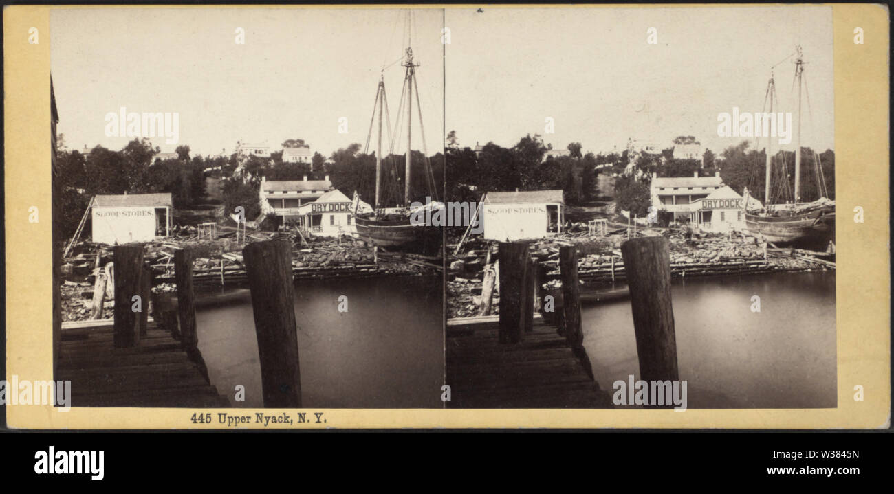 Upper Nyack, NY (The dry dock), by Bierstadt Brothers - Stock Image