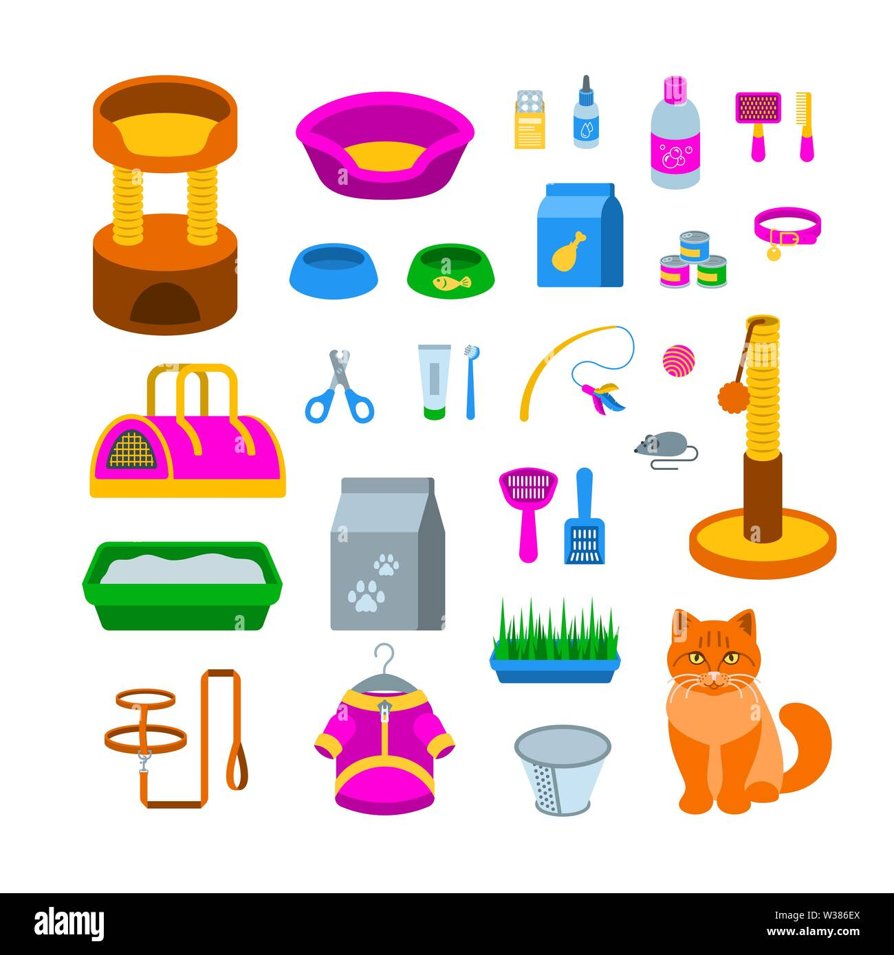Cat accessories vector flat icons. Pet shop equipment cartoon illustration. Domestic animal care supplies. Items for feeding, grooming, playing - Stock Image