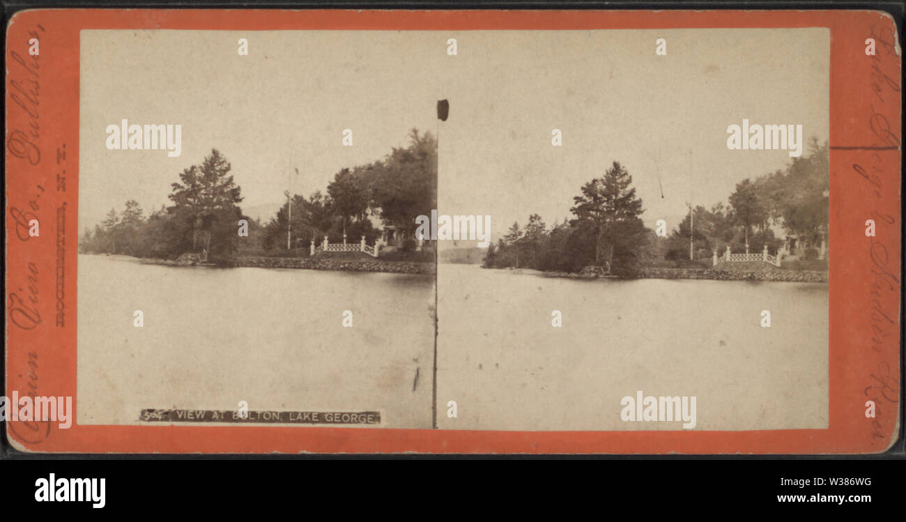 View at Bolton, Lake George, from Robert N Dennis collection of stereoscopic views - Stock Image