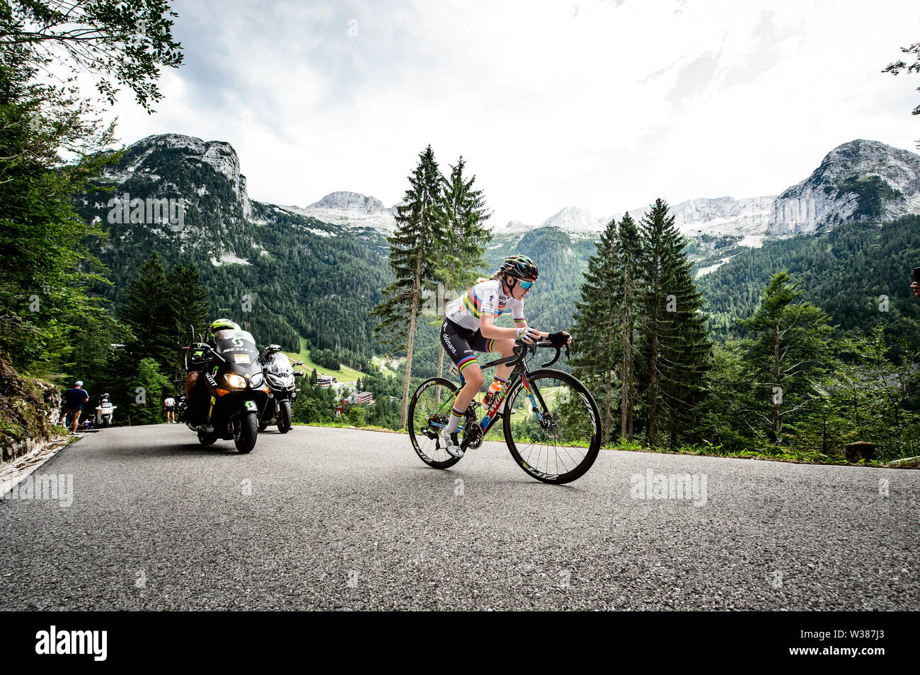 Chiusaforte, Italy. 13th July, 2019.Chiusaforte/Malga Montasio - 13-07-2019, cycling, Stage 9, etappe 9 Gemona - Chiusaforte/Malga Montasio, giro rosa, Anna van der Breggen wins stage 9 of Giro Rosa Credit: Pro Shots/Alamy Live News - Stock Image