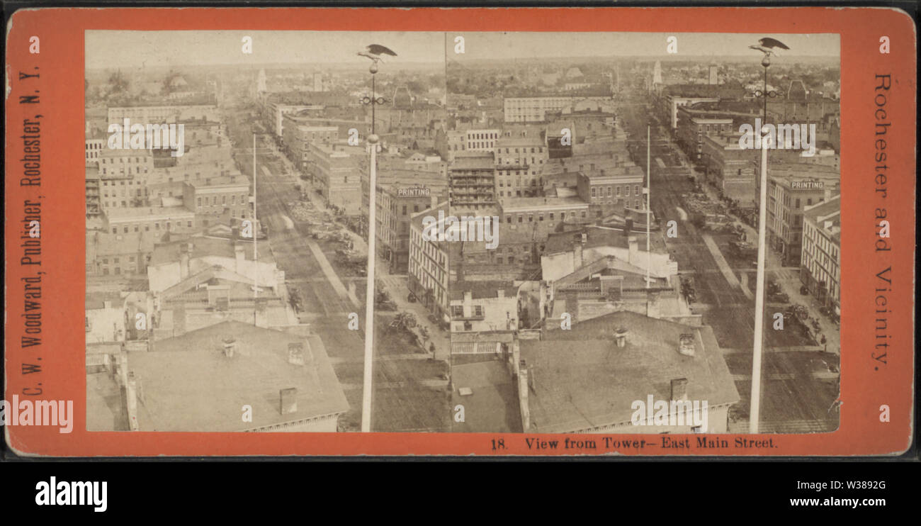View from Tower - East Main Street, by Woodward, C W (Charles Warren) - Stock Image