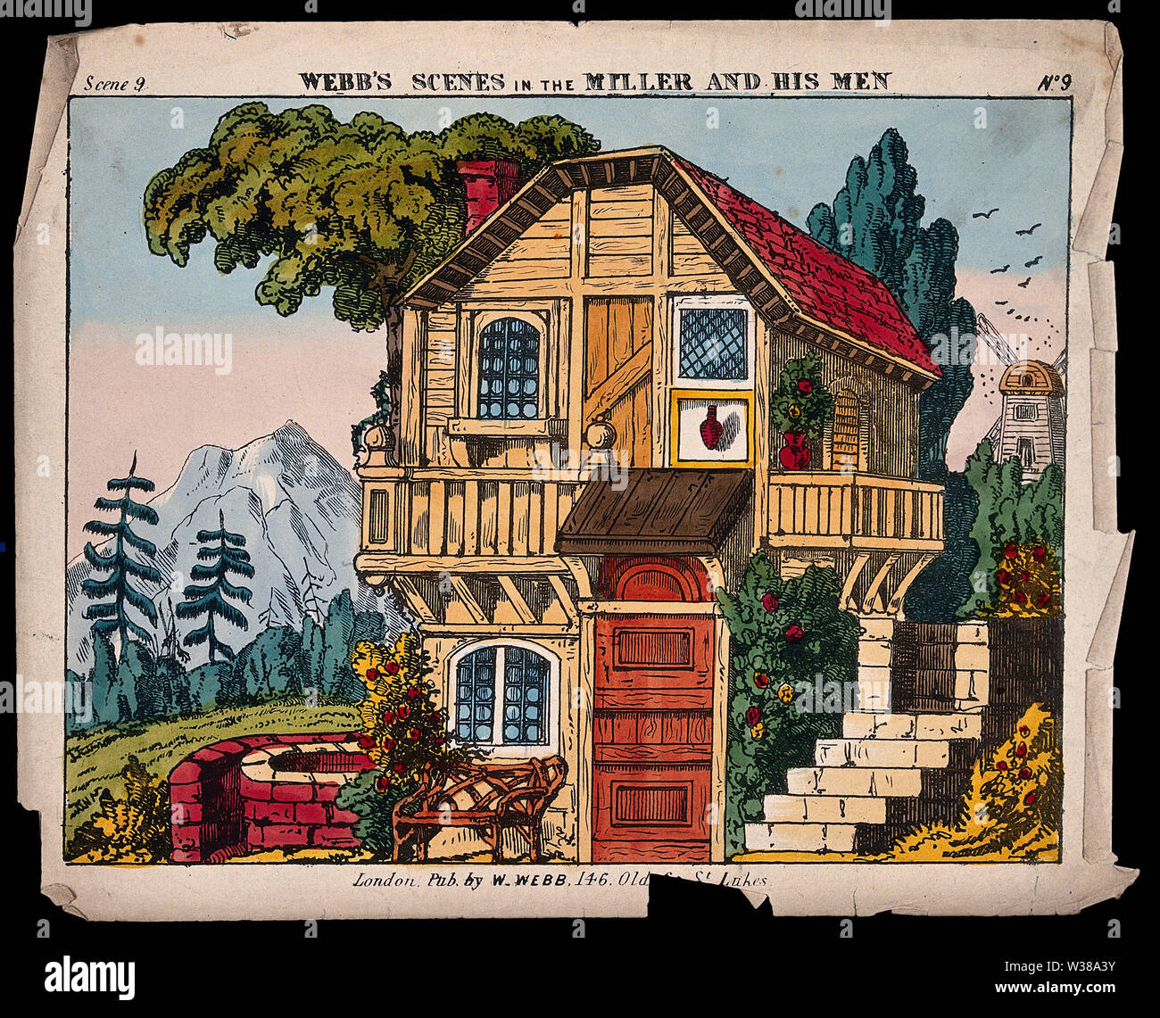 A scene for the back-drop of a children's theatre production. Coloured lithograph. - Stock Image