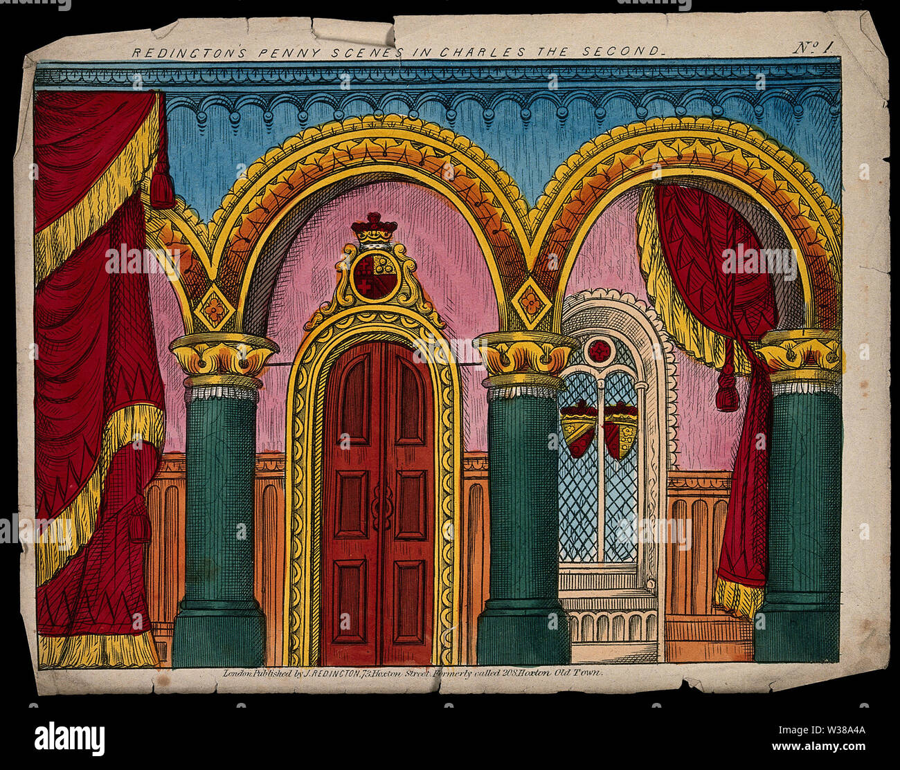 A scene to be used as a backdrop to a children's theatre production. Coloured lithograph. - Stock Image