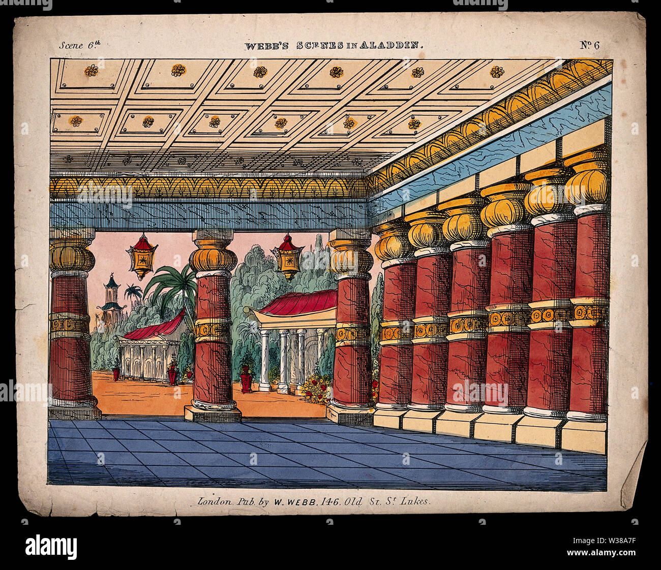 A scene used as a back-drop for a children's theatre production. Coloured lithograph. - Stock Image