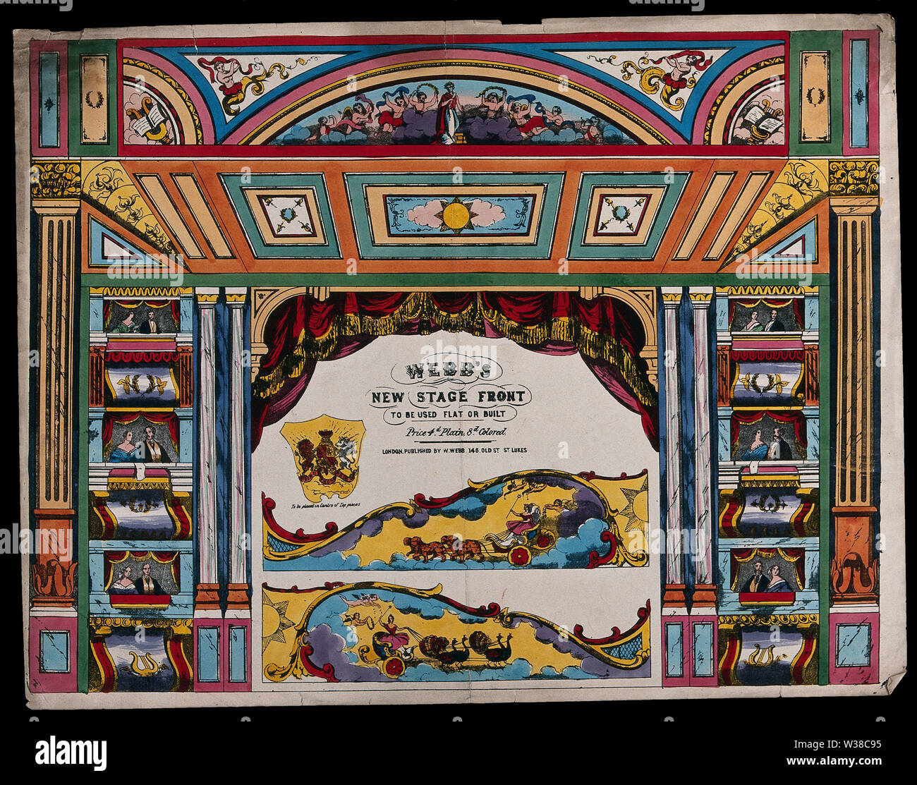 A stage set with surrounding boxes for people to watch a play from. Coloured lithograph. - Stock Image