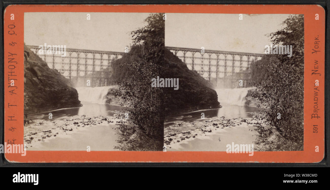 View of Portage Bridge and Horse Shoe Falls, by E & HT Anthony (Firm) - Stock Image