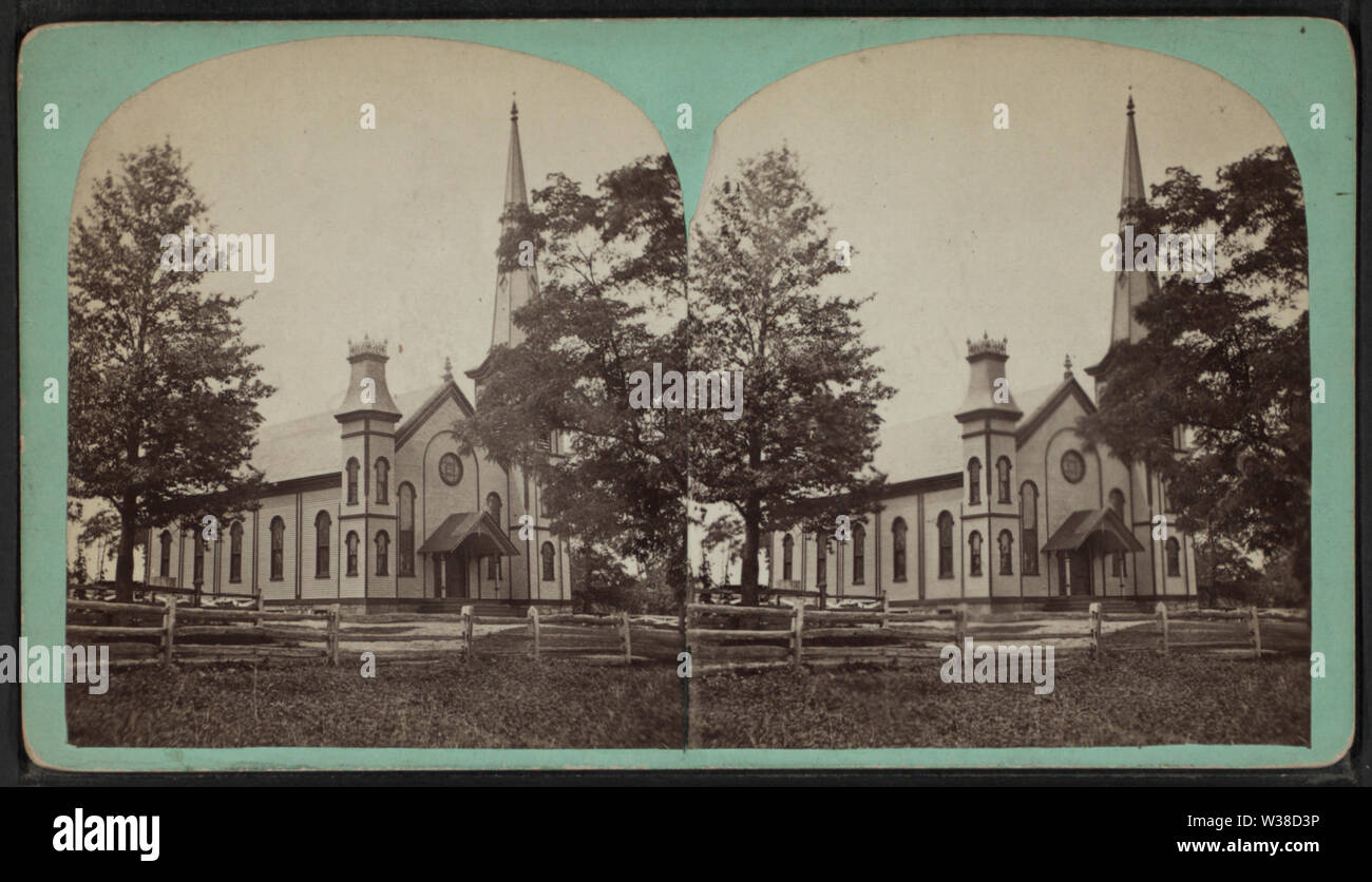 View of a Church in Hacketstown, Warren County, from Robert N Dennis collection of stereoscopic views - Stock Image