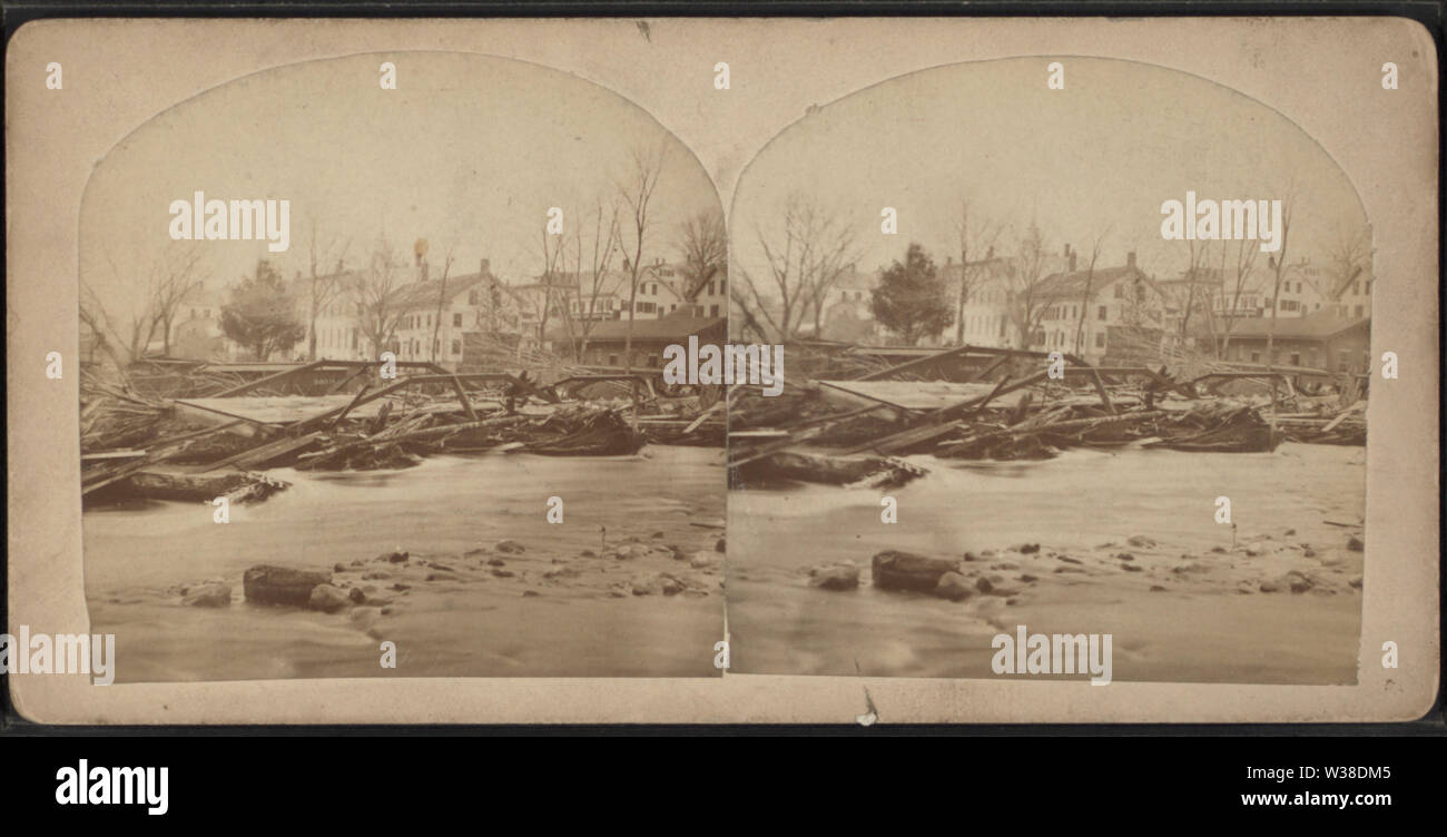 View of a flood and destroyed bridge, by Bolton, G M (George M) - Stock Image