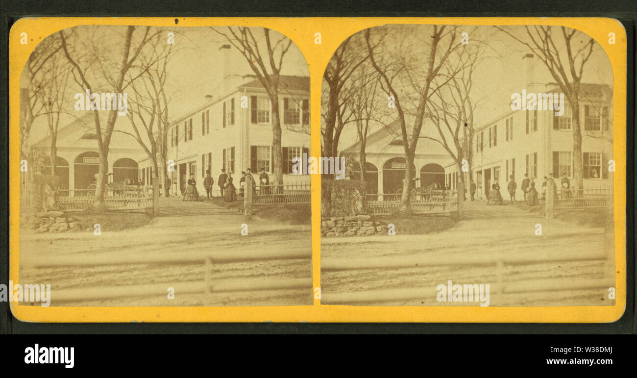 View of a gathering in front of a large building and stables, from Robert N Dennis collection of stereoscopic views - Stock Image