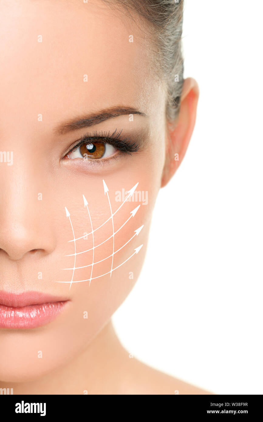 Face lift anti-aging treatment - Asian woman portrait with graphic lines showing facial lifting effect on skin. Stock Photo
