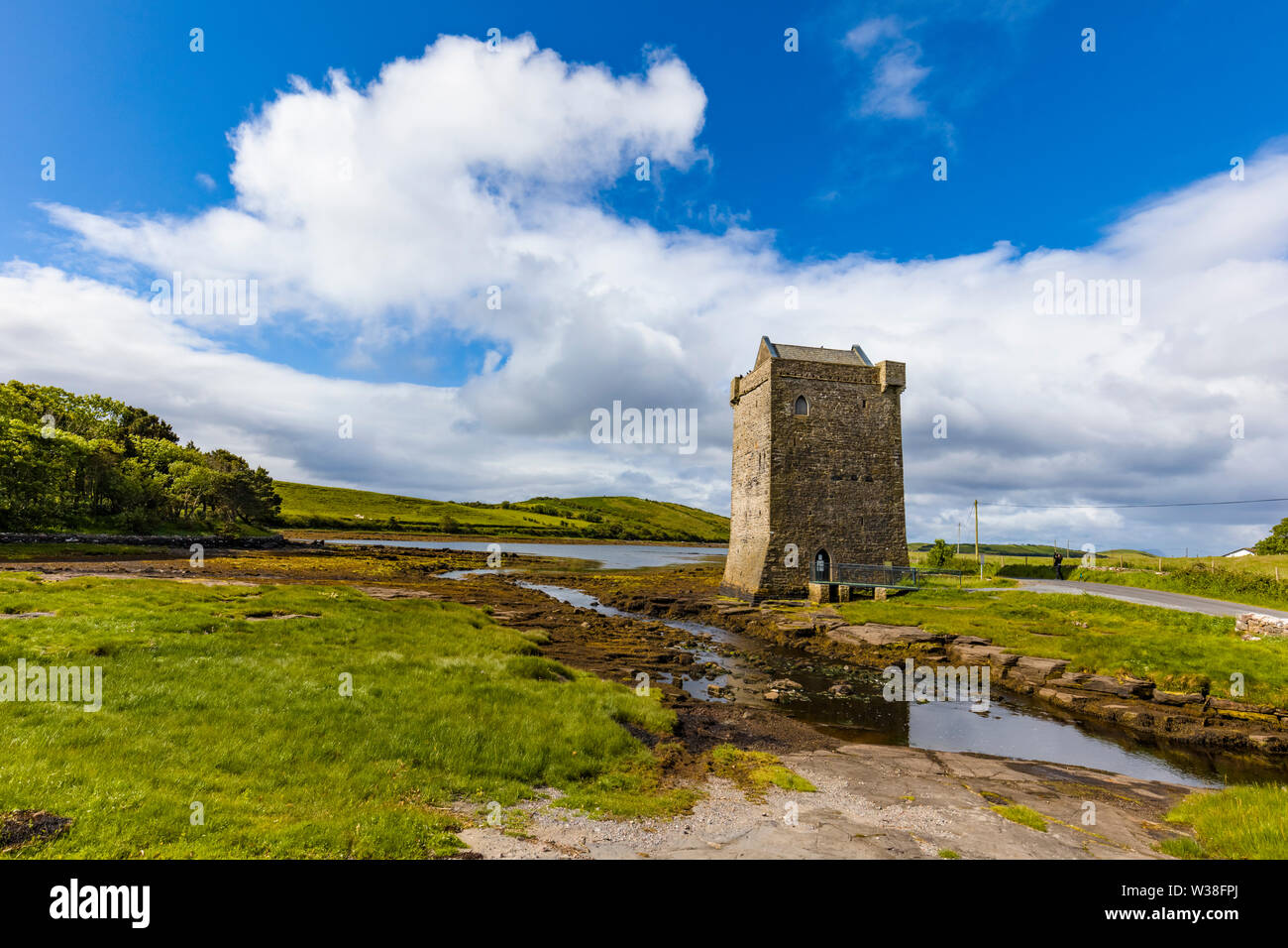 Rockfleet Castle, or Carrickahowley Castle a tower house of Grace O'Malley the pirate queen near Newport in County Mayo, Ireland - Stock Image