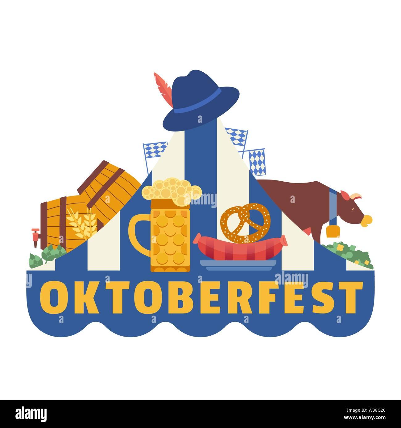 Hand drawn Oktoberfest flat color vector icon - Stock Image