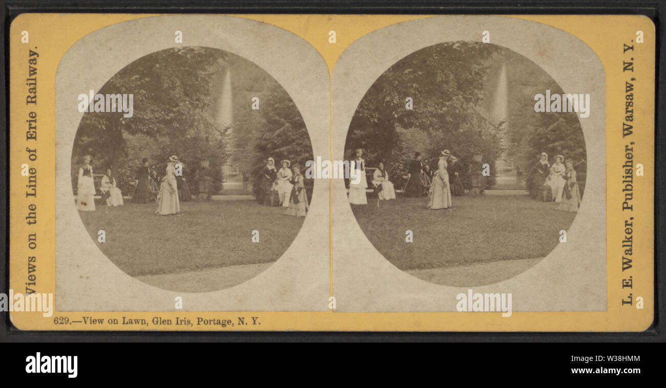 View on Lawn, Glen Iris, Portage, NY, by Walker, L E, 1826-1916 - Stock Image