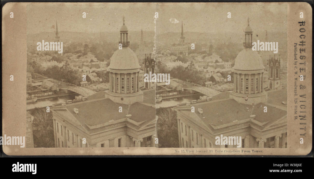 View toward Mt Hope Cemetery, from Tower, by Woodward, C W (Charles Warren) - Stock Image