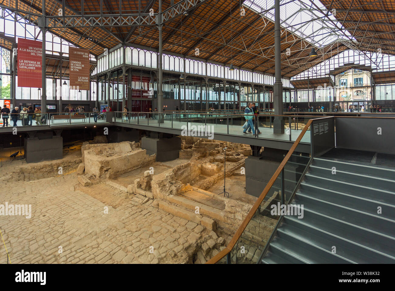 Barcelona, Spain- 09 November 2014: Ruins of the medieval city, part of the la Ribera district in the area El Born Cultural Center. - Stock Image