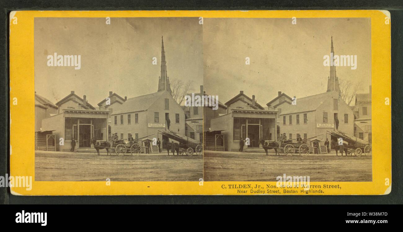 Warren Street near Dudley Street, Boston highlands, from Robert N Dennis collection of stereoscopic views - Stock Image