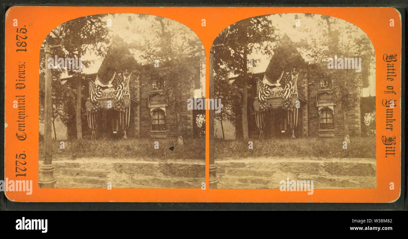 Warren house, Roxbury, bithplace of Gen Warren, by Lewis, Thomas, d 1901 - Stock Image