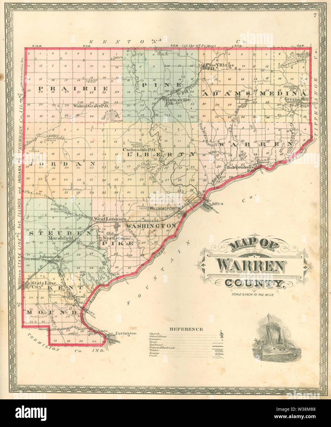 Warren County, Indiana map from 1877 atlas - Stock Image