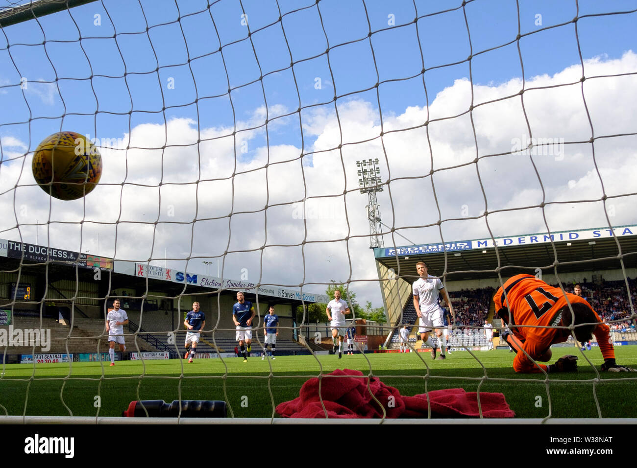 Starks Park, Kirkcaldy, UK. 13th July, 2019. Scottish League Cup football, Raith Rovers versus Dundee; Andrew Nelson of Dundee scores from the penalty spot for 2-0 Credit: Action Plus Sports/Alamy Live News Stock Photo